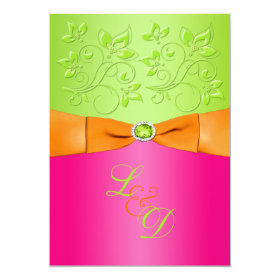 Pink, Orange, Green Monogram Wedding Invitation 5