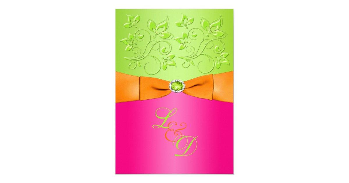 Orange And Green Wedding Invitations: Pink, Orange, Green Monogram Wedding Invitation