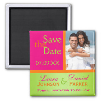Pink Orange Green Save the Date Photo Magnet