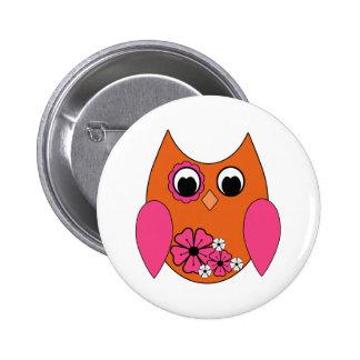 Pink & Orange Groovy Owl 2 Inch Round Button