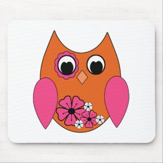 Pink & Orange Groovy Owl Mouse Pad