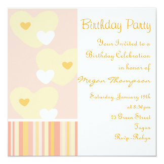Pink & Orange Heart Design Birthday Invitation