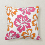 Pink Orange Hibiscus Flowers Floral Print Pillow