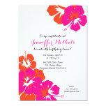 pink orange hibiscus LUAU BIRTHDAY invitation