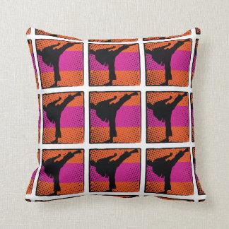 Pink orange karate silhouette throw pillow