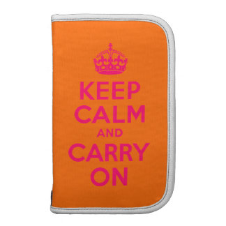 Pink Orange Keep Calm and Carry On Folio Planners