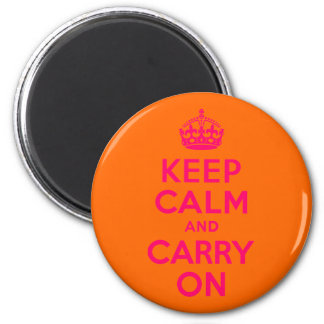 Pink Orange Keep Calm and Carry On 2 Inch Round Magnet