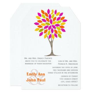 Pink Orange Lemon Green Modern Tree Flower Wedding Card