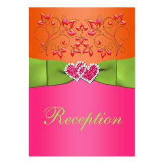 Pink, Orange, Lime Floral, Hearts Enclosure Card