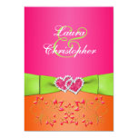 Pink Orange Lime Floral Joined Hearts Invitation 2