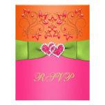 Pink, Orange, Lime Floral Joined Hearts RSVP Card