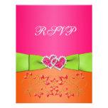 Pink Orange Lime Floral Joined Hearts RSVP Card 2