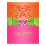 Pink, Orange, Lime Floral Joined Hearts RSVP Card Personalized Invitations