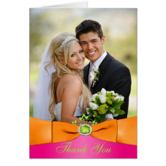 Pink Orange Lime Floral Photo Thank You Note Card