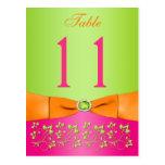 Pink, Orange, Lime Floral Table Number Post Card