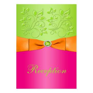 Pink, Orange, Lime Floral Wedding Enclosure Card Large Business Cards (Pack Of 100)