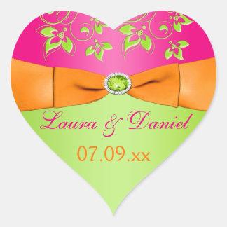 Pink Orange Lime Floral Wedding Favor Sticker