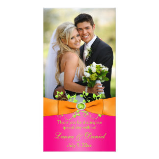 Pink Orange Lime Floral Wedding Photo Card 2