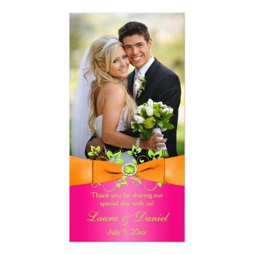 Pink Orange Lime Floral Wedding Photo Card 2
