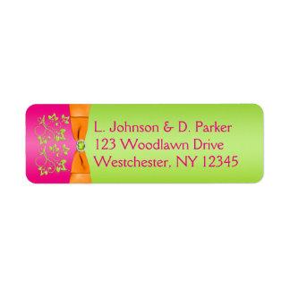 Pink Orange Lime PRINTED Ribbon Address Label