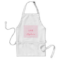 Pink Orange Love Hugs & Kisses Pattern Adult Apron