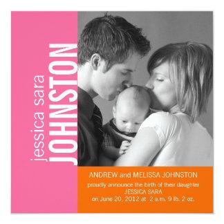 Pink Orange Modern Baby Birth Announcement
