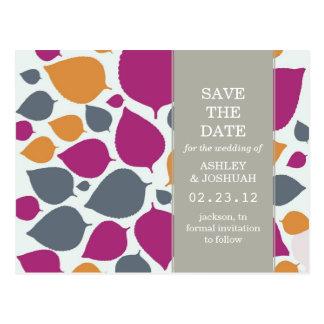 Pink & Orange Modern Leaf Save The Date Post Cards