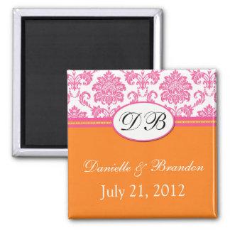 Pink Orange Monogram Damask Wedding Magnet