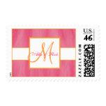 Pink Orange Monogram Wedding Postage Stamps