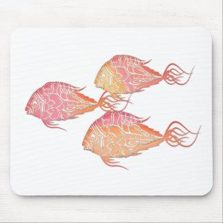 Pink & Orange Mosaic Tropical Fish Mouse Pad