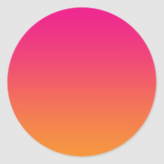 Pink & Orange Ombre Classic Round Sticker