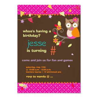 Pink / Orange Owl Personalized Birthday Party 5x7 Paper Invitation Card