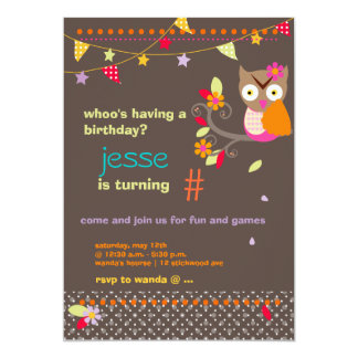 Pink / Orange Owl Personalized Birthday Party Card