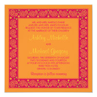Pink Orange Paisley Floral Wedding Invitation
