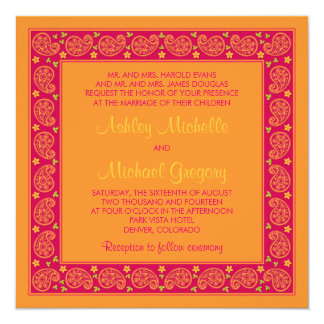 Pink Orange Paisley Floral Wedding Invitation