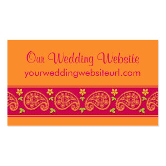 Pink Orange Paisley Floral Wedding Website Insert Double-Sided Standard Business Cards (Pack Of 100)