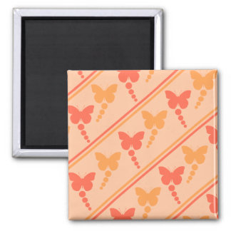 Pink Orange Peach Butterflies Dots Stripes Print Magnet