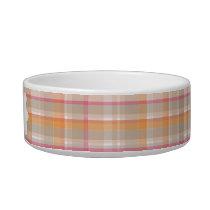 Pink & Orange Plaid Personalized Bowl