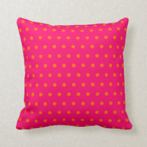Pink Orange Polka Dot Pattern Throw Pillow