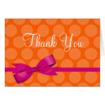 Pink Orange Polka Dot Printed Bow Thank You Greeting Cards