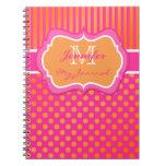 Pink Orange Polka Dot Striped Journal Notebook