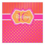 Pink, Orange Polka Dots Sixteenth Birthday Invite