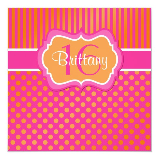 Pink, Orange Polka Dots Sixteenth Birthday Invite