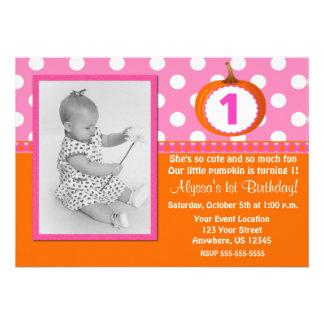 Pink Orange Pumpkin Birthday Invitation
