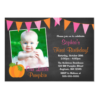 Pink Orange Pumpkin Chalkboard Girl Photo Birthday 5x7 Paper Invitation Card