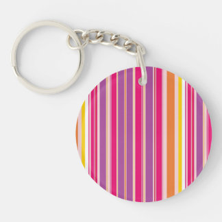 Pink Orange Purple Colorful Girly Stripe Pattern Double-Sided Round Acrylic Keychain
