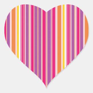 Pink Orange Purple Colorful Girly Stripe Pattern Heart Sticker