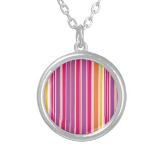 Pink Orange Purple Colorful Girly Stripe Pattern Silver Plated Necklace
