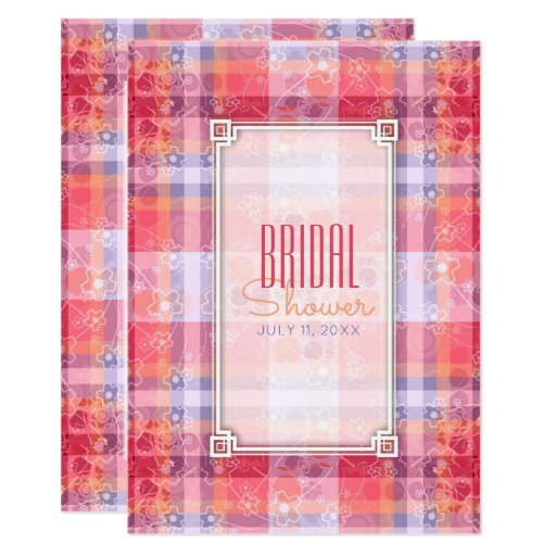 Pink Orange  Purple Plaid Pattern Bridal Shower Card
