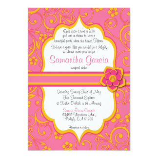 Pink & Orange Quinceañera Invitation, Eng Sweet 15 Card